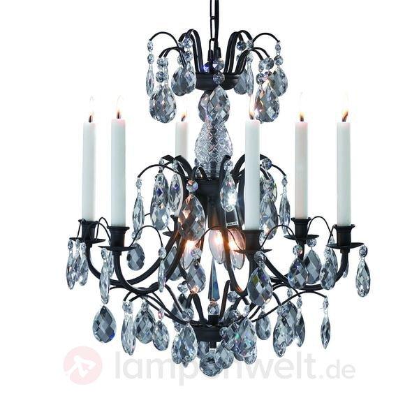 Kronleuchter mit Kerzen und Lampen – 6 Kerzenhalter antik – 45 cm